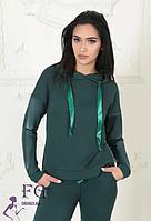 Женский качественный спортивный костюм из эко кожи и двунитки