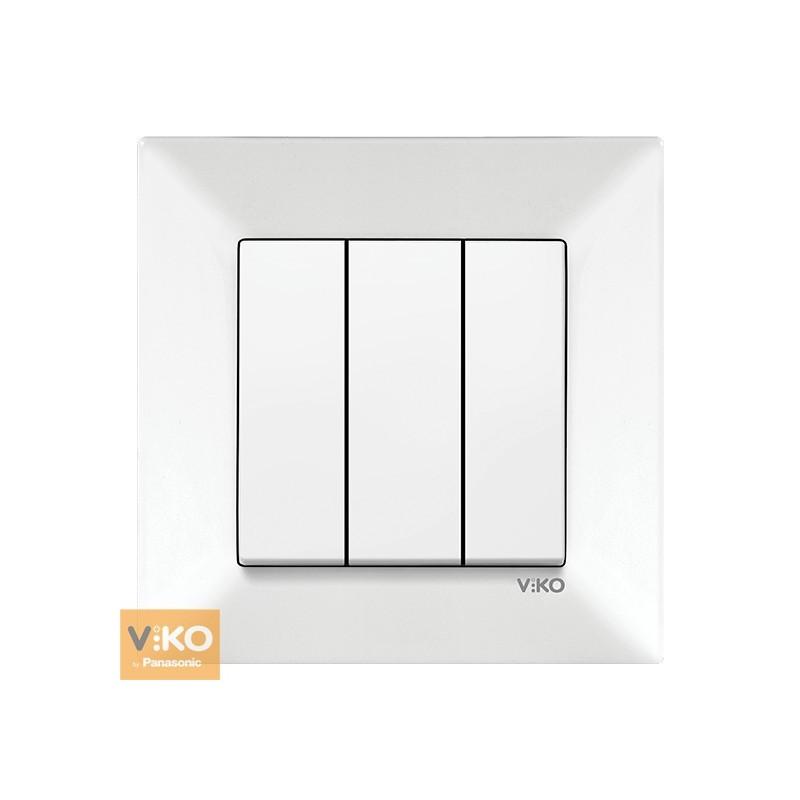 Вимикач трьохклавішні VIKO Meridian - Білий