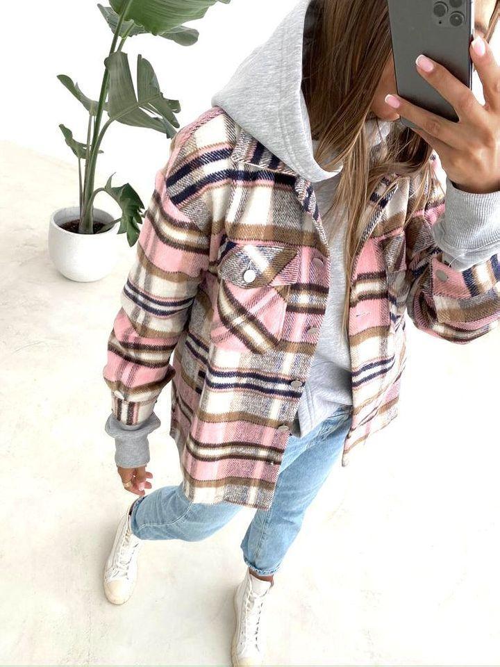 Женская рубашка, пальтовый кашемир, р-р универсальный 42-46 (розовая клетка)
