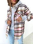Женская рубашка, пальтовый кашемир, р-р универсальный 42-46 (розовая клетка), фото 3