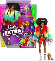 Кукла Барби Экстра Афроамериканка Модная Барби Barbie Extra Furry Rainbow Coat #1
