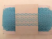Кружево капроновое,цвет голубой (33м в рулоне,ширина 4см)