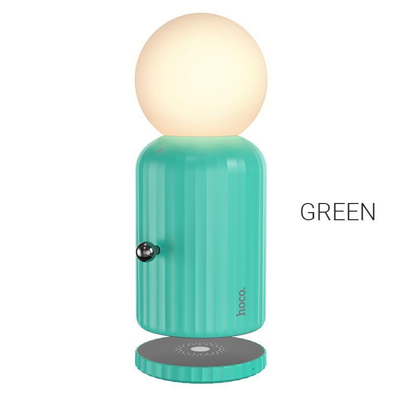 Ночник/Настольная ночная лампа Hoco H8 Jewel с беспроводной зарядкой Green