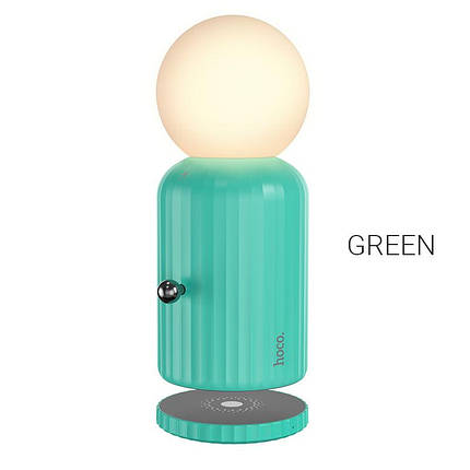 Ночник/Настольная ночная лампа Hoco H8 Jewel с беспроводной зарядкой Green, фото 2