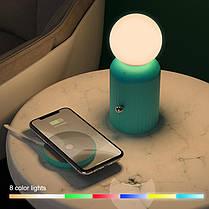 Ночник/Настольная ночная лампа Hoco H8 Jewel с беспроводной зарядкой Green, фото 3
