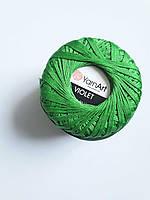 Пряжа нитки для вязания хлопковые  Виолет Ярнарт Violet YarnArt 100% зелений  № 6332