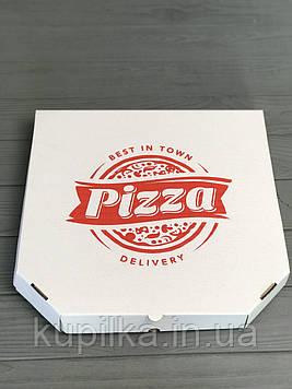 Коробка для пиццы с рисунком Town 350Х350Х35  мм. (красная печать)