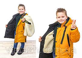 Теплая куртка на мальчика зимняя размеры 128-158