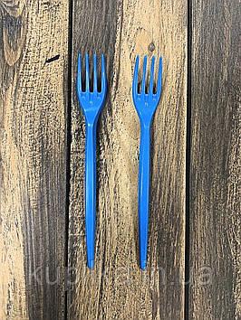 Вилка одноразовая синяя