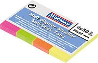Стикеры-закладки бумажные Donau 20х50мм, 4цв.х50л. неон 7576001PL