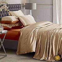Полуторный постельный комплект, цвет: бежевый (кремовый), коричневый