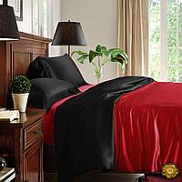 Полуторный постельный комплект, цвет: красный, черный