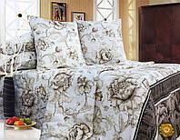 Полуторный постельный комплект Б0312 , цвет: коричневый, белый
