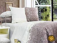 Полуторный постельный комплект Б0317 , цвет: бежевый, коричневый