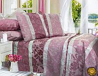 Полуторный постельный комплект Б0337 , цвет: фиолетовый, белый
