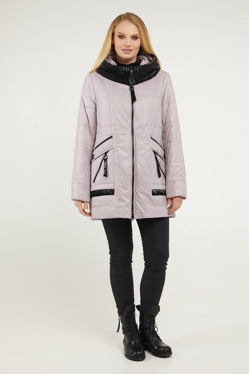 Куртка демисезонная женская батал пудрового цвета