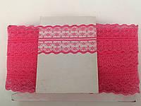 Кружево капроновое,цвет ярко-розовый (33м в рулоне,ширина 4см)