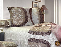 Семейный постельный комплект, цвет: бежевый (кремовый)
