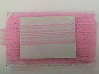 Кружево капроновое,цвет розовый (33м в рулоне,ширина 4см)