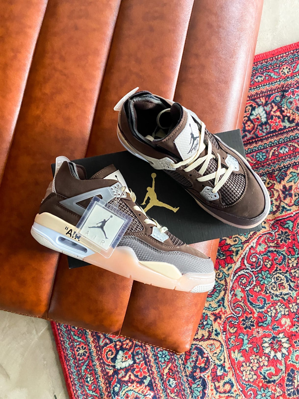 "Кроссовки Nike Air Jordan 4 Mid OFF WHITE ""BROWN"""