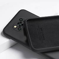 Силиконовый чехол для Xiaomi Poco X3 NFC Черный микрофибра soft touch
