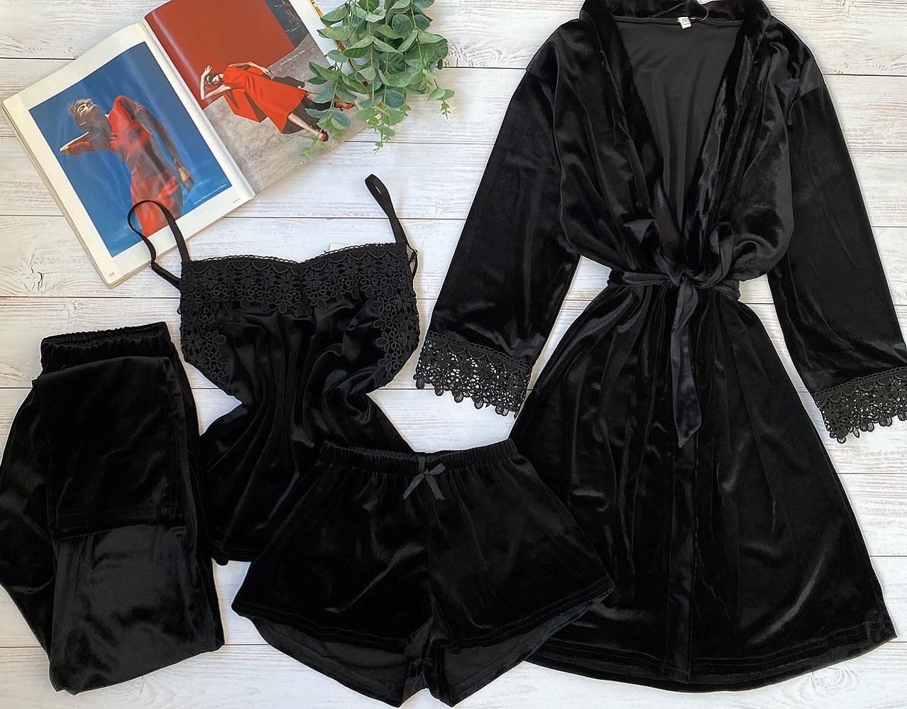 Женская велюровая пижама четверка L черный