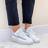 Стильні жіночі кросівки білі текстиль, фото 7