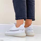 Стильні жіночі кросівки білі текстиль, фото 4