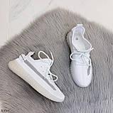 Стильні жіночі кросівки білі текстиль, фото 9