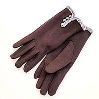 Жіночі трикотажні рукавички з декором на хутрі чорні