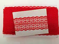 Кружево капроновое,цвет красный (33м в рулоне,ширина 4см)