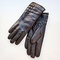 Жіночі рукавички еко шкіра на хутрі чорні