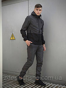 Мужской костюм серо-черный демисезонный Softshell Light Куртка мужская серая, штаны синие черные SKL59-259500