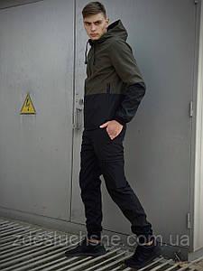 Мужской костюм хаки-черный демисезонный Softshell Light Куртка мужская хаки, штаны синие черные SKL59-259501