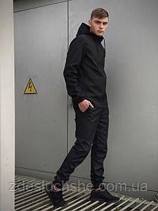 Мужской костюм черный демисезонный Softshell Light Куртка мужская черная, штаны синие черные серые