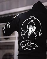 Спортивный костюм мужской Itachi утепленный черный | Комплект зимний Кофта + Штаны теплый ЛЮКС качества, фото 1