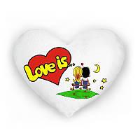Светящая подушка в форме сердца  love is белая