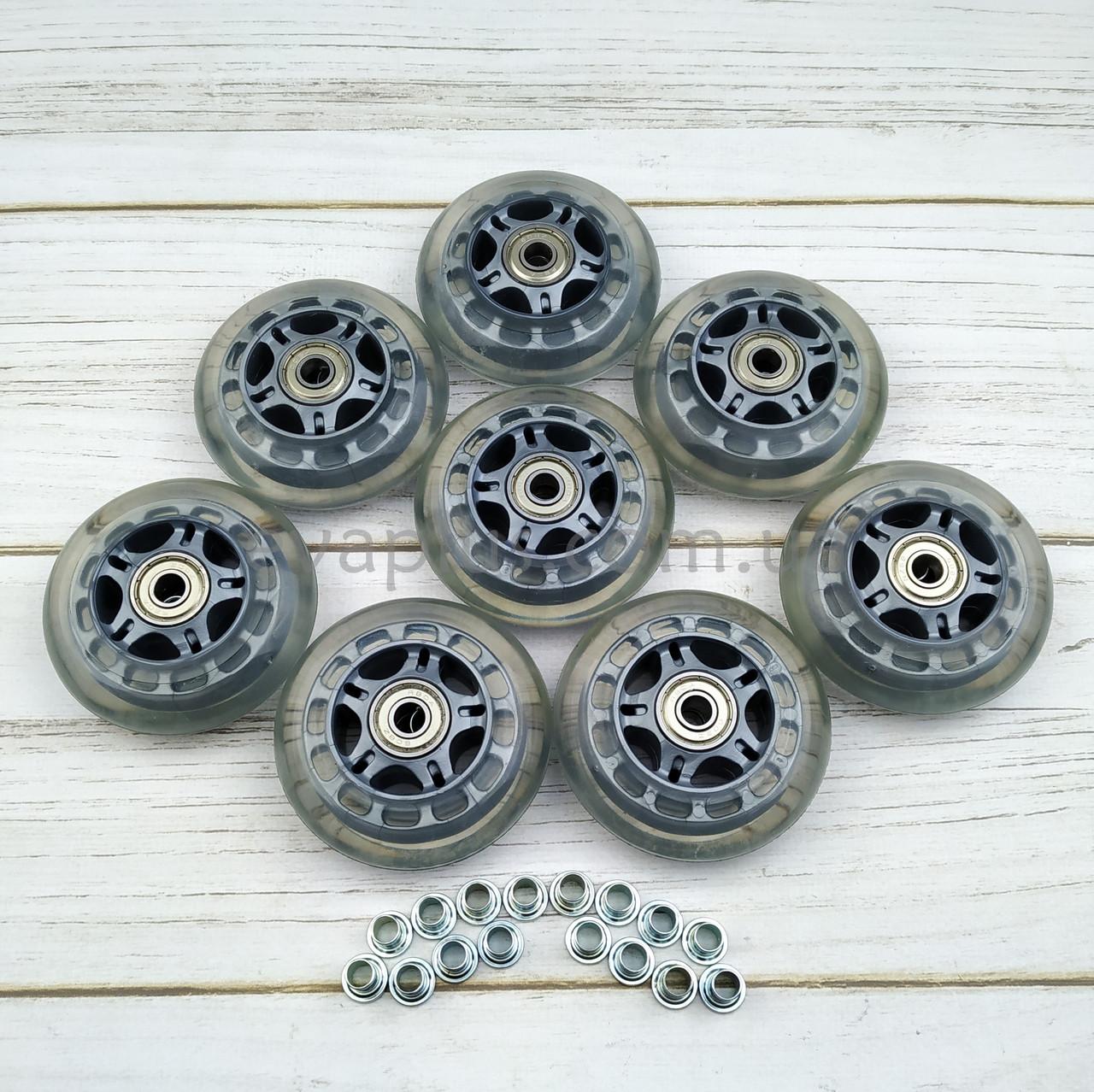Колеса для роликовых коньков 76 мм. 8 шт (прозрачные)