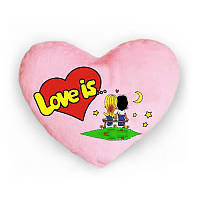 Светящая подушка в форме сердца  love is розовая