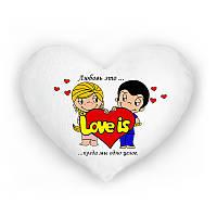 Светящая подушка в форме сердца Love is...когда мы одно целое. любовь это (белая)