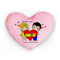 Светящая подушка в форме сердца Love is...когда мы одно целое. любовь это (розовая)