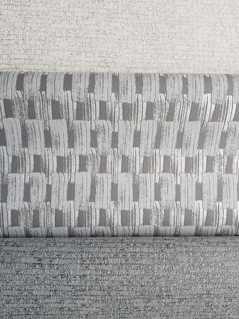 Обои виниловые на флизелине Grandeco Gravity полосы плетенка серые  серебристые