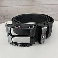 Мужской кожаный ремень Tommy Hilfiger | Брендовый черный ремень на пояс Томми хилфигер с пряжкой