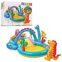 Игровой центр Intex  57135 Планета динозавров 333*229*112 см, с горкой, душем, мячиками и надувными игрушкам Т