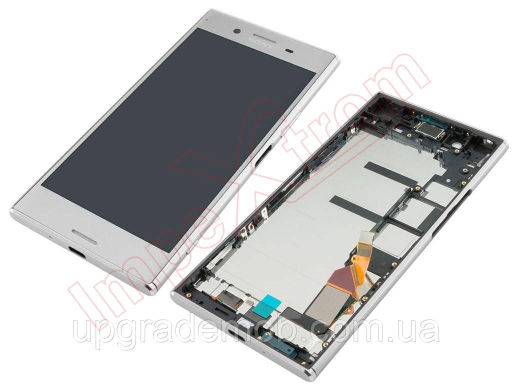Дисплей Sony G8141 Xperia XZ Premium/G8142 тачскрин сенсор, серебристый, Luminous Chrome, в рамке, оригинал