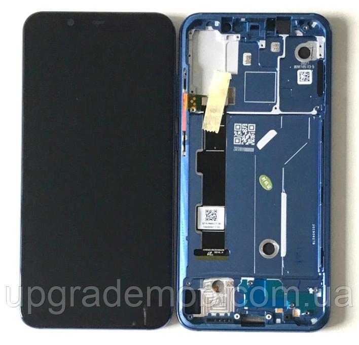 Дисплей Xiaomi Mi8 тачскрин сенсор модуль, черный, в рамке синего цвета, OLED, копия хорошего качества