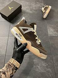 Женские кроссовки Air Jordan 4 Off-White Brown Beige (коричневый/бежевый)