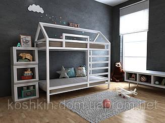 Двох'ярусне ліжко будиночок Джина натуральне дерево