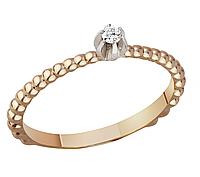 Кольцо с бриллиантом золотое