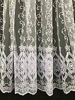 Елегантний білий тюль з фатину з вишивкою білого кольору на метраж, висота 2,8 м (12М216), фото 5